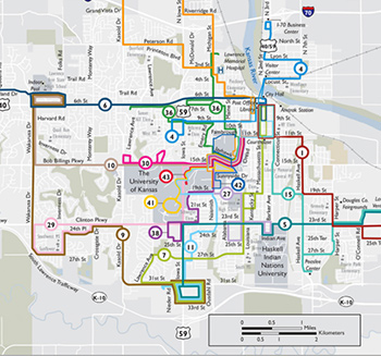 How to get to SRC on the Lawrence Transit System